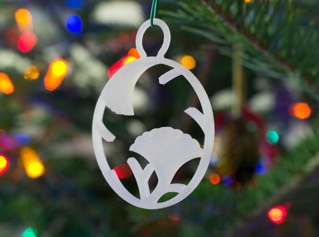 """""""Ichoedamaru"""" Japanese single ornament 3d printed Printed in Frosted Detail"""