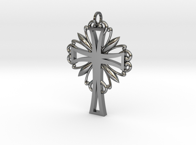 Decorative Cross in Fine Detail Polished Silver