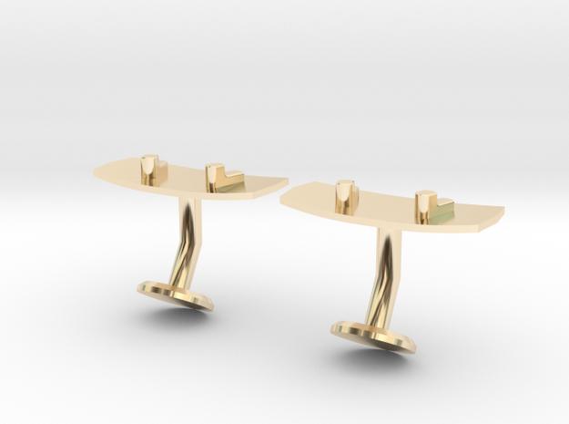 Wakeboard Cufflinks in 14k Gold Plated Brass
