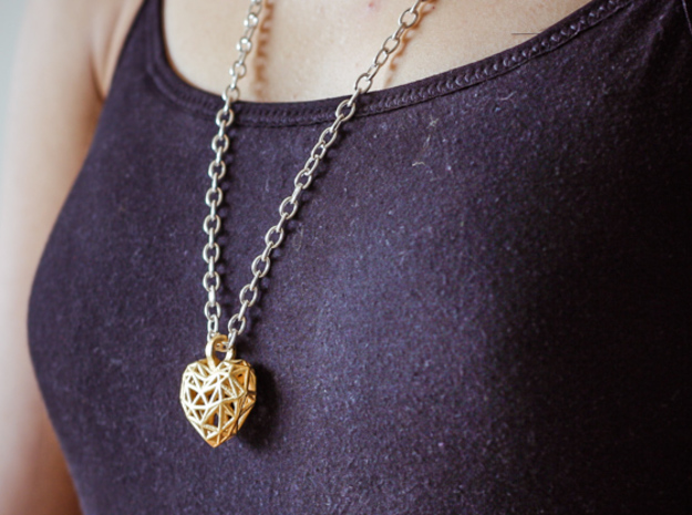 Heart Pendant - Wireframe in Polished Gold Steel