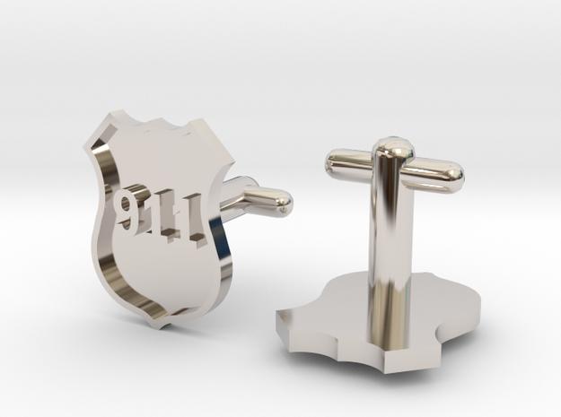911 Police Shield Cufflinks Silver/Brass/bronze 3d printed