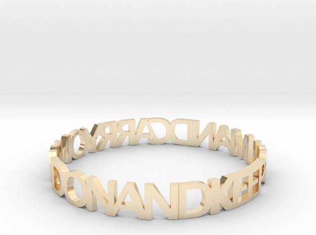 KEEP CALM AND CARRY ON AND ON AND bangle in 14k Gold Plated Brass