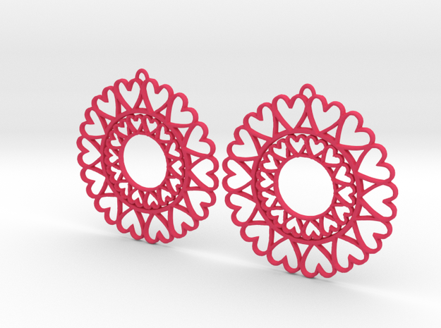 Circle Hearts Earrings in Pink Processed Versatile Plastic