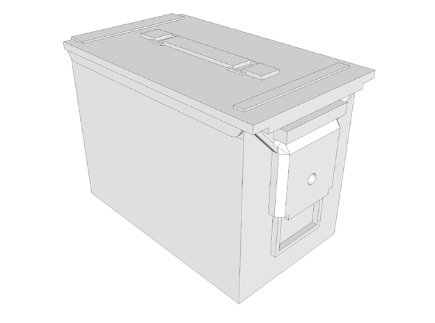 1:6 scale 5.56 fat .50 ammo can box x1 in White Natural Versatile Plastic