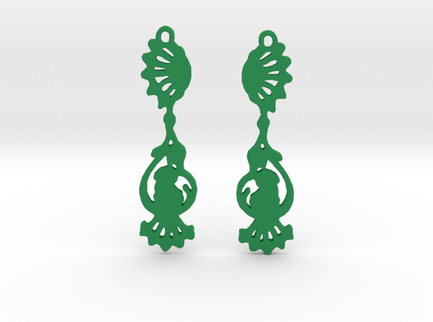 Peacock Earrings in Green Processed Versatile Plastic