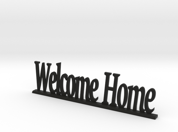 "Letters 'Welcome Home' - 7.5cm / 3"" in Black Natural Versatile Plastic"