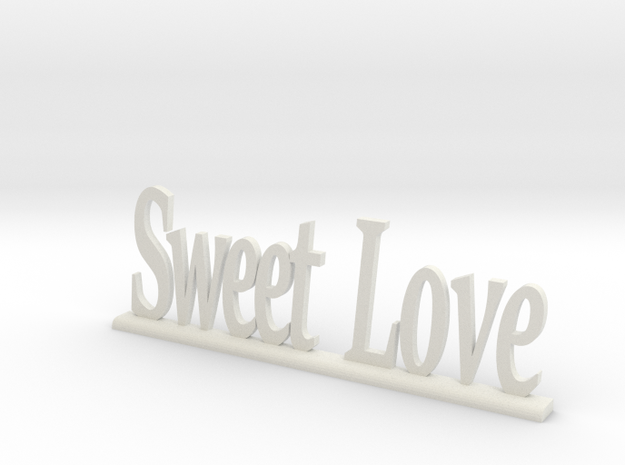 "Letters 'Sweet Love' - 7.5cm - 3"" in White Natural Versatile Plastic"