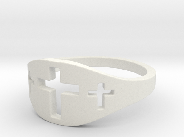 Cross Trio Ring Size 7 in White Natural Versatile Plastic