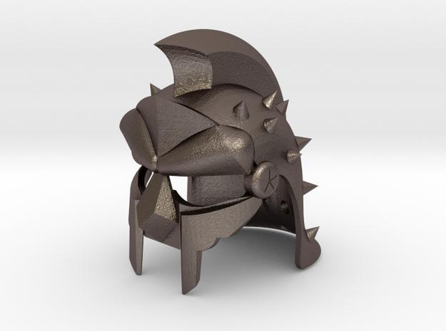 GLADIATOR HELMET REPLICA in Polished Bronzed Silver Steel