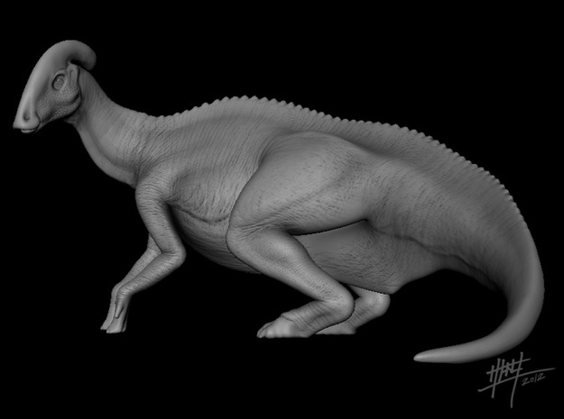 Parasaurolophus Female 1/72 in White Natural Versatile Plastic