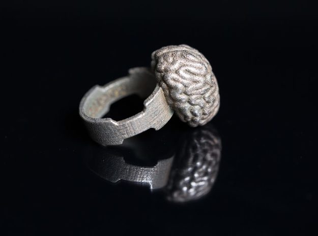 Cogito Ergo Sum Brain Ring in Polished Bronzed Silver Steel