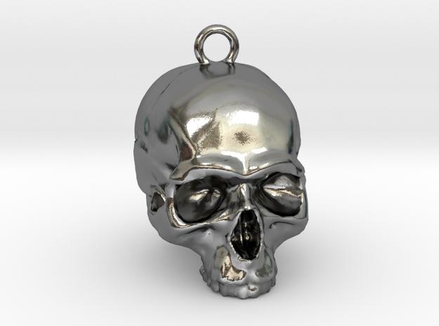 Skull Pendant 2 in Polished Silver