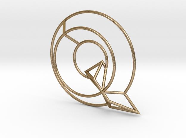 Q Typolygon in Polished Gold Steel