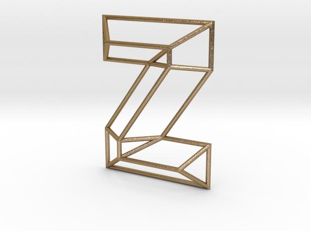 Z Typolygon in Polished Gold Steel