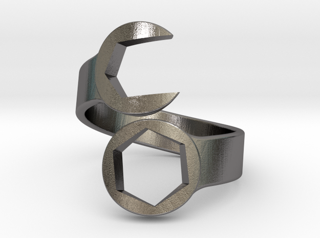 Wrench Ring size 10 in Polished Nickel Steel