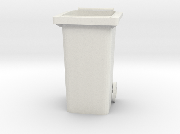 "Modern Garbage Can for 6"" figures in White Natural Versatile Plastic"