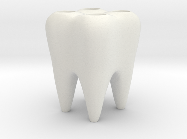Molar Brush Stand  in White Natural Versatile Plastic