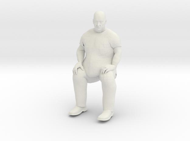Big Guy stitting 1/20 scale in White Natural Versatile Plastic