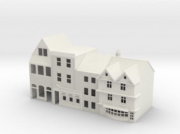 N Gauge Topsham Fore Street buildings in White Strong & Flexible