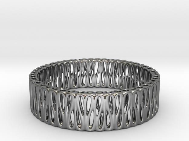 Voronoi Bracelet 65mm (003) in Polished Silver