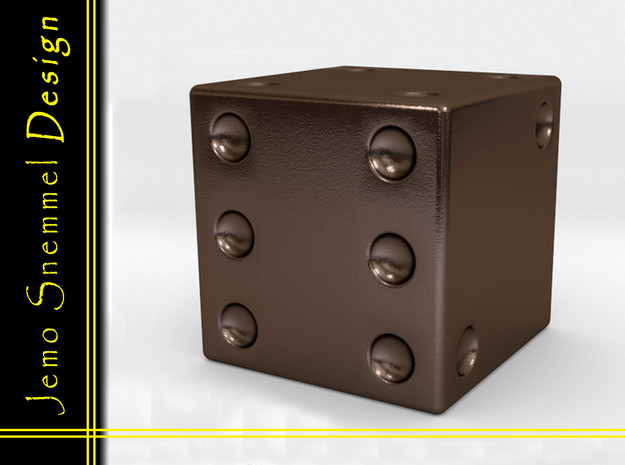 Dice in Polished Bronze Steel