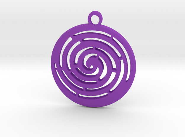 Spiral maze pendant  in Purple Processed Versatile Plastic