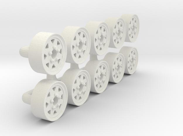 "1/64 15"" Trailer Wheel in White Natural Versatile Plastic"
