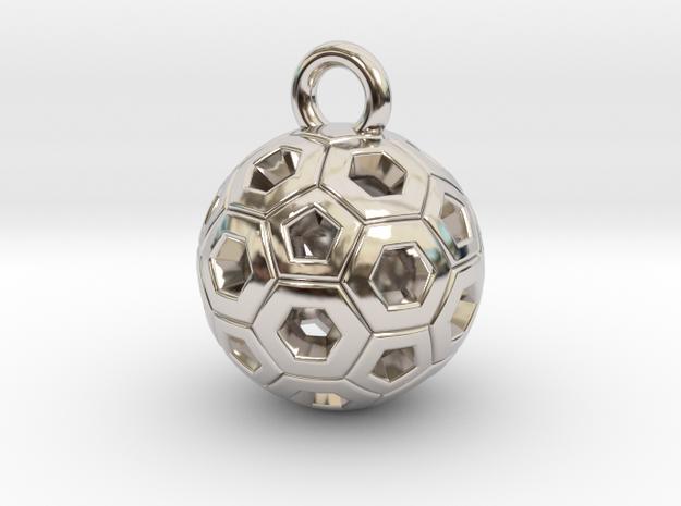 SOCCER BALL E in Rhodium Plated Brass