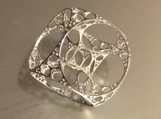 Apollonian Cube Small in Rhodium Plated Brass