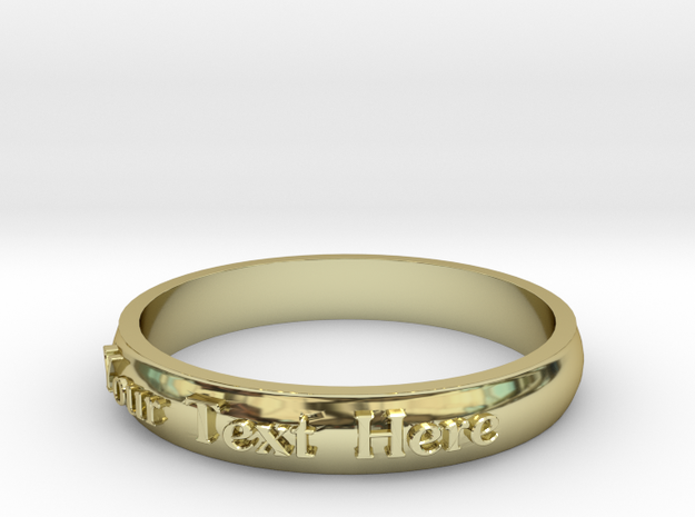 """Ring ' Your Text Here' - 16.5cm / 0.65"""" - Size 6 in 18k Gold"""