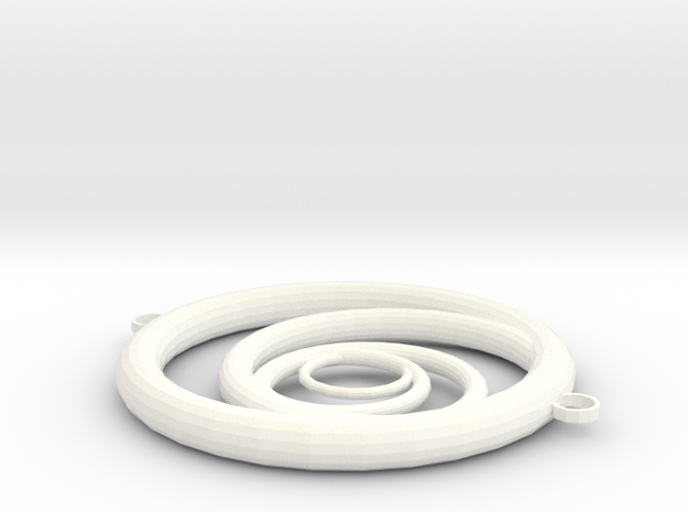 Orbiting Circle Pendant Double Loop in White Strong & Flexible Polished