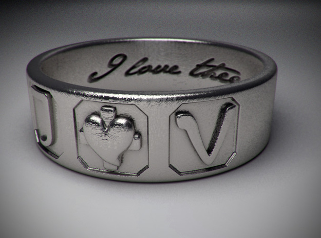 J + V ring Size 8 in Raw Silver