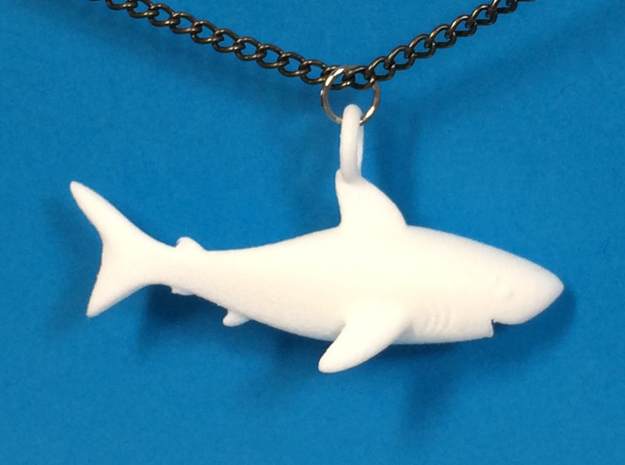 Shark Necklace Pendant in White Processed Versatile Plastic