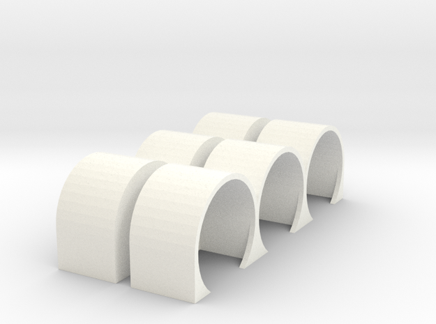 Triple Hump Fender Set 64th in White Strong & Flexible Polished