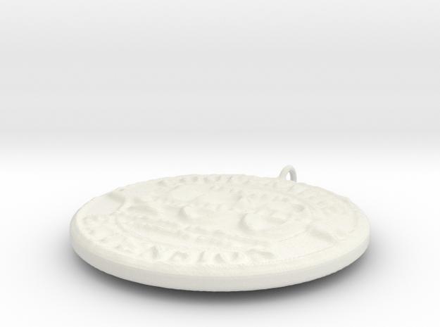 4H Medallion, Small in White Natural Versatile Plastic