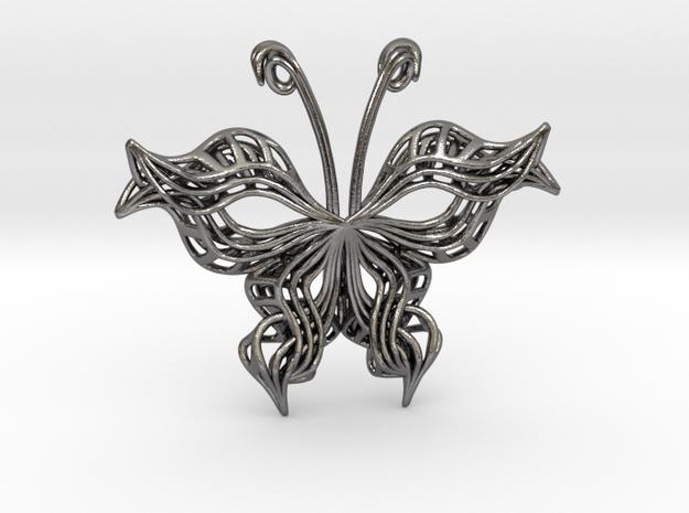 Butterfly Pendant in Polished Nickel Steel