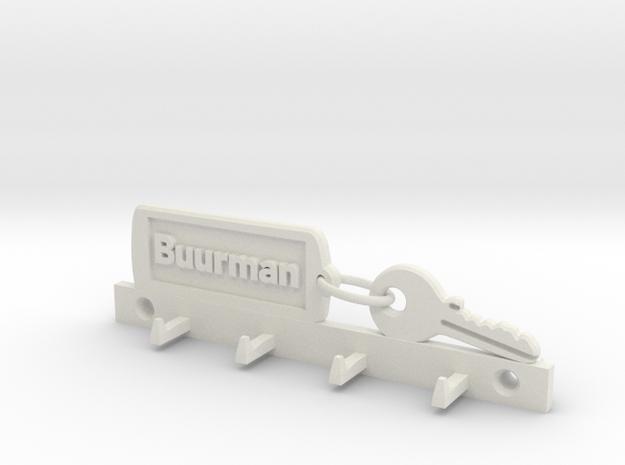 Key Chain Keyholder fam Buurman in White Natural Versatile Plastic