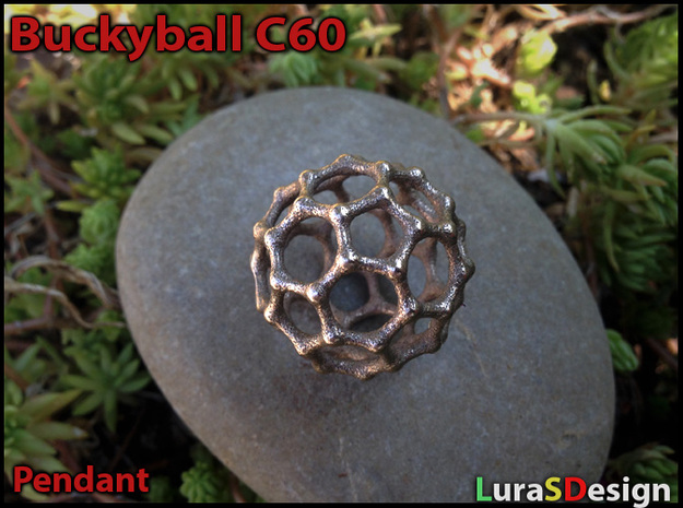 Buckyball C60 Pendant in Polished Bronzed Silver Steel