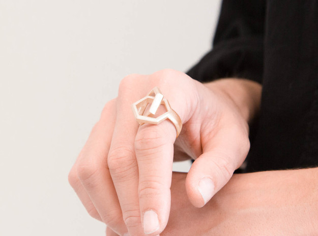 Twin Hexagon Ring 3d printed