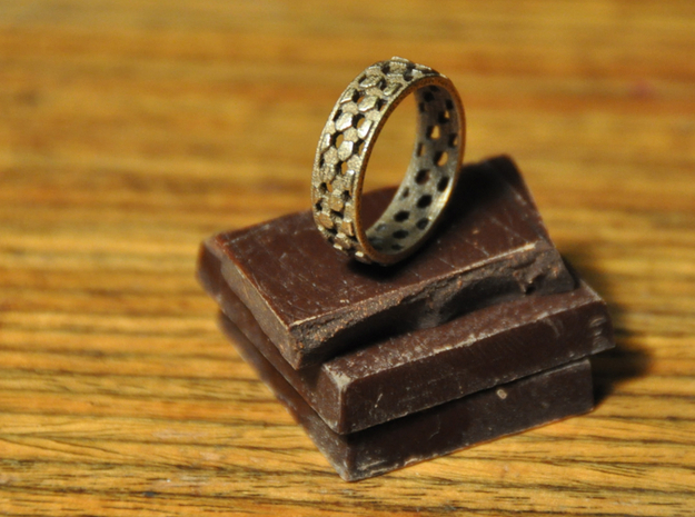 Thin parquet deformation ring (57mm) 3d printed Chocolate not included (unfortunately!)