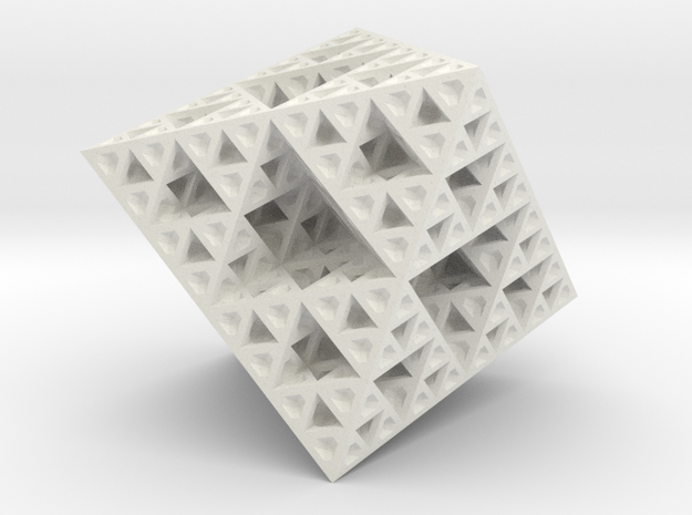 Sierpinski Octahedron Small in White Strong & Flexible