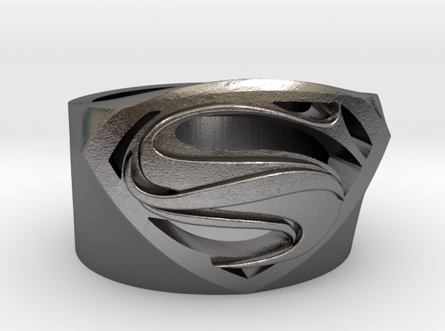 Superman Ring - Man Of Steel Ring Size US 7 in Polished Nickel Steel