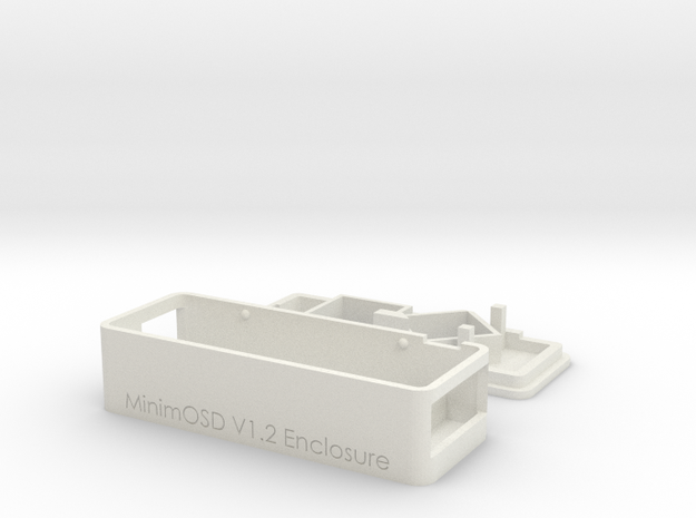 MinimOSD V1.1 & 1.2 enclosure with side opening in White Natural Versatile Plastic