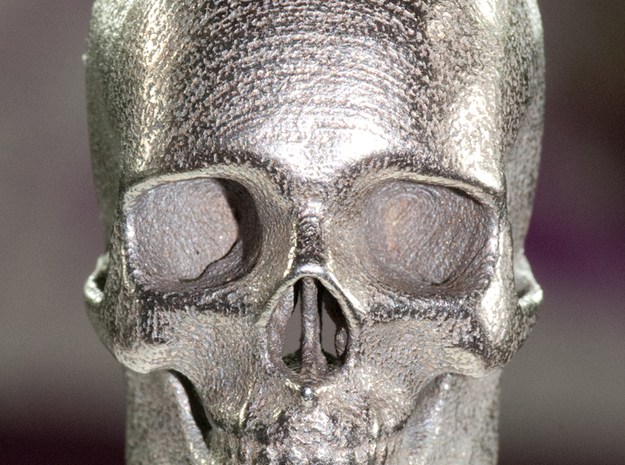 Human Skull with Ring 3.9 cm in White Strong & Flexible
