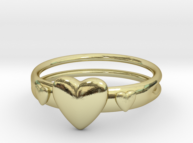 Ring with hearts, open back in 18k Gold Plated Brass