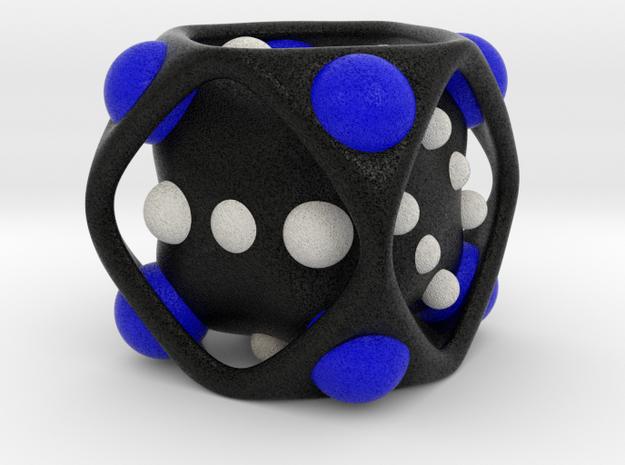 Dice No.2-c Blue M (balanced) (3.6cm/1.42in) in Full Color Sandstone