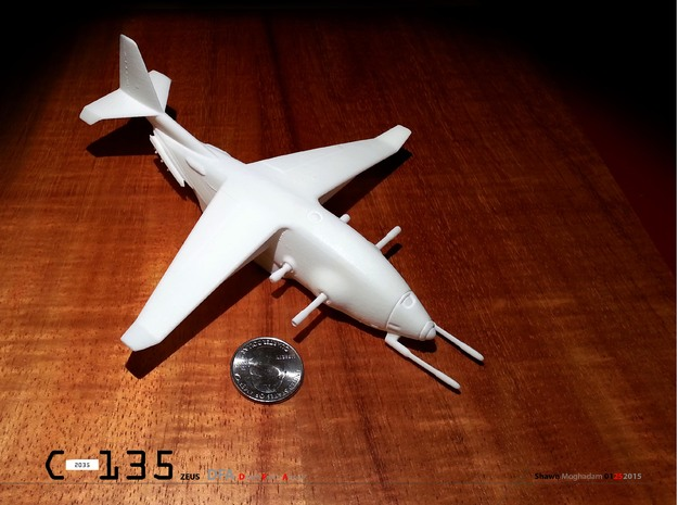 C-135 ZEUS military airplane  BIG ONE! in White Strong & Flexible Polished