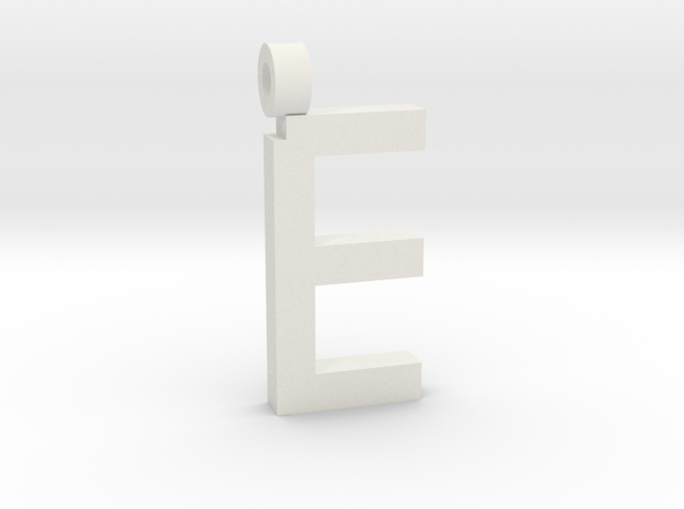 Letter E Necklace in White Natural Versatile Plastic