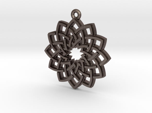 """Lotus"" Pendant, Printed Metal in Polished Bronzed Silver Steel"