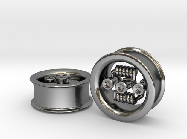 """Floating Build"" RDA EARRINGS 7/8"" CENTER POST - P in Polished Silver"